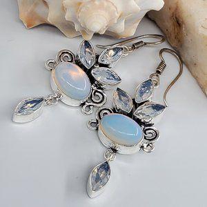 Natural Opalite/Blue Silver Earrings